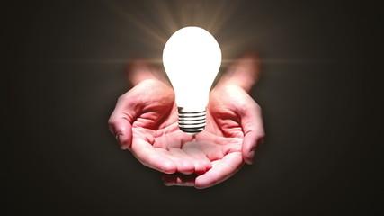 Hands presenting light bulb