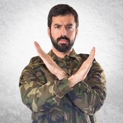 Soldier doing NO gesture