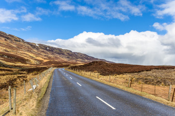 Straight Road Trough the Scottish Highlands