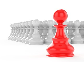leadership concept red pawn forward white pawns team group
