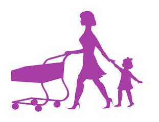 женщина с тележкой и ребенком