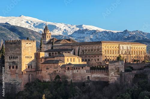 Fotobehang Vestingwerk Aerial view of Alhambra Palace in Granada