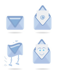Set, collection, group of four blue, modern, isolated icons -