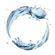 Leinwanddruck Bild - 3d water splashing round frame, aqua, isolated liquid splash