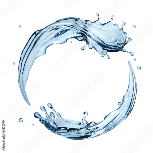 3d water splashing round frame, aqua, isolated liquid splash