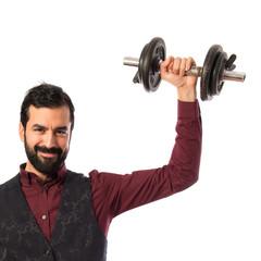 Sport man doing weightlifting