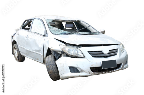 wrecked car isolated on white Poster
