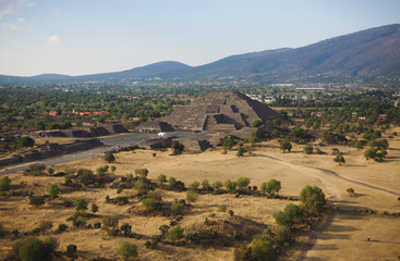 View of the Avenue of the Dead and the Pyramid of the Moon from