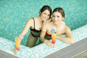 Young women in the pool
