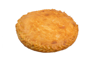 A savoury meat pie with a golden crust studio isolated
