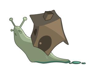 cartoon snail with a house