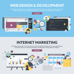 Flat design style concepts for web design, internet marketing