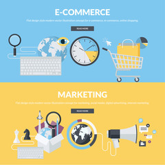 Flat design style concepts for e-commerce and marketing