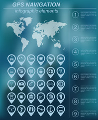 Global Positioning System, navigation. Infographic template