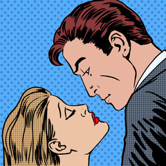 Love men and women kiss pop art comics retro style Halftone