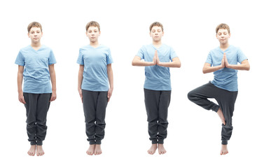 Young boy doing yoga