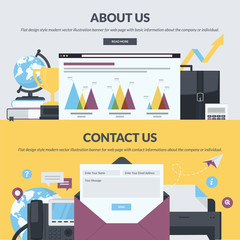 Flat design style banners for web pages design