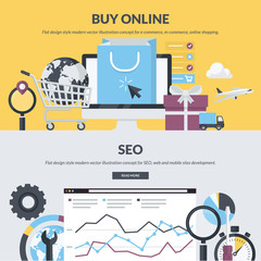Set of flat design style concepts for e-commerce and SEO