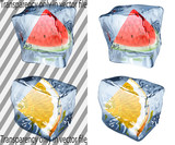 Transparent and opaque ice cubes with watermelon and orange poster
