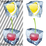 Transparent and opaque ice cubes with lemon and cherry poster