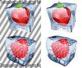 Transparent and opaque ice cubes with strawberry and raspberry poster