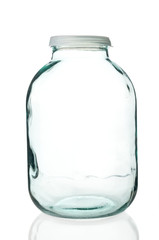 Glass jar on white background