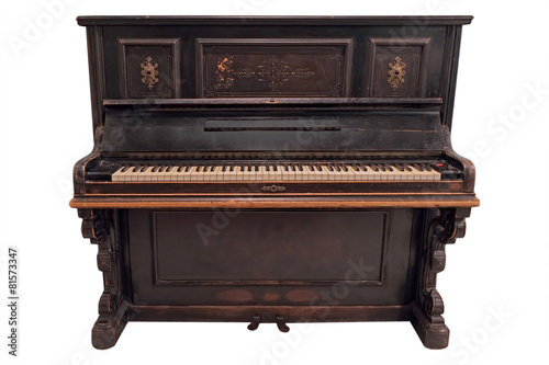 Old fashioned piano under the white background - 81573347