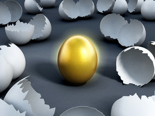 Gold egg at the center of cracked regular ones