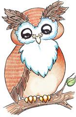Cartoon owl on branch isolated