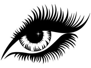 Female eye black silhouette isolated over white