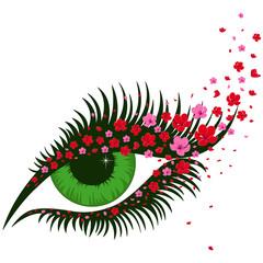 Female green eye with small pink sakura flowers