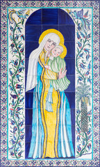 Jerusalem - tiled Madonna in vestibule of St. James cathedral