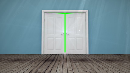 Door opening to green screen