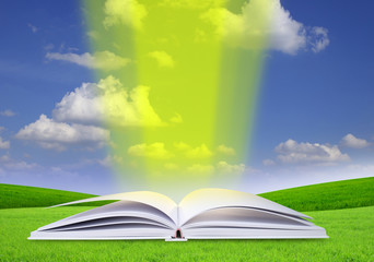 Open book in green grass over blue sky.
