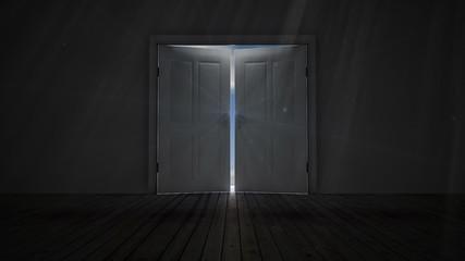 Door opening to blue sky