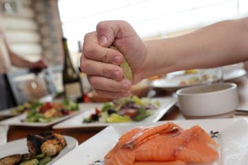 Thin slices of salmon