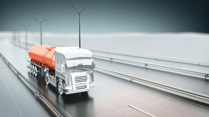 Orange gas truck on a highway front view looping animation