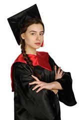 Beautiful graduate girl student in mantle