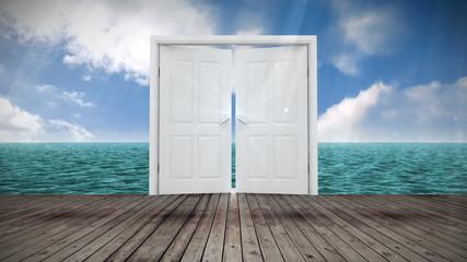 Door opening to ocean