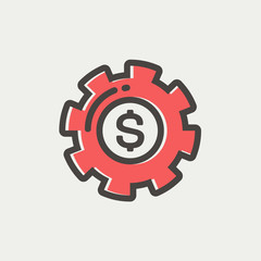Money with gear thin line icon