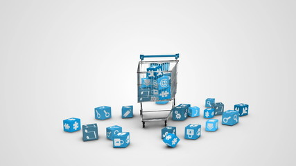Icons dropping in the trolley on white background