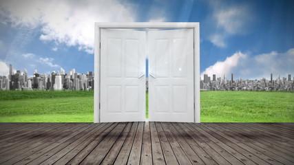 Door opening to city