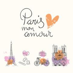 conjunto de ilustraciones de paris