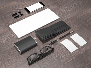 Every day carry man items collection: glasses, wallet, flask