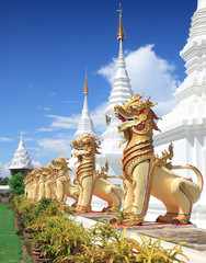 Golden Lion in temple /Stucco art of Thailand.