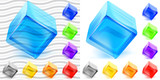 Transparent and opaque glass cubes poster