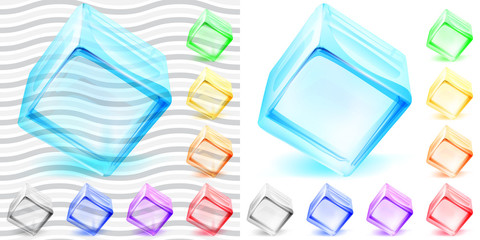 Transparent and opaque glass cubes