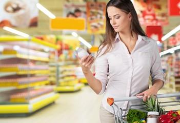 Supermarket. Supermarket - Reading the label