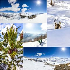 Collage di foto invernali in montagna
