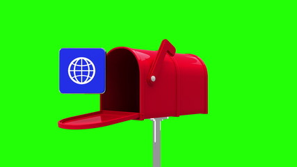 Internet icon in the mailbox on green background